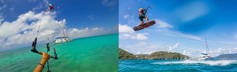 Flottille Sunsail Katamaran Bahamas Kiteboarding Kiteboard Surfen Segeln Segelurlaub Yachturlaub Fun Abaco Abacos Inseln Karibik © Sunsail