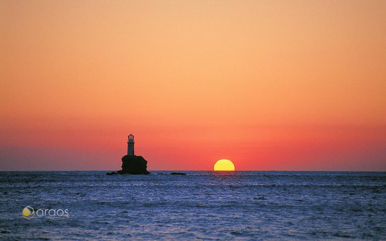 Sonnenuntergang genießen auf der Insel Andros