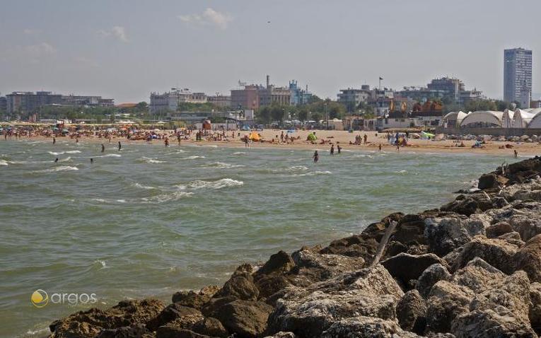 Blick auf den Strand von Rimini