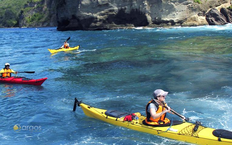 Kayakfahrer vor der Küste von Saint Lucia
