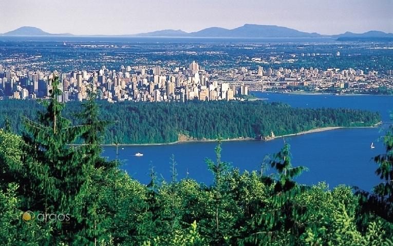 Aussicht aus West Vancouver auf Stanley Park und Vancouver