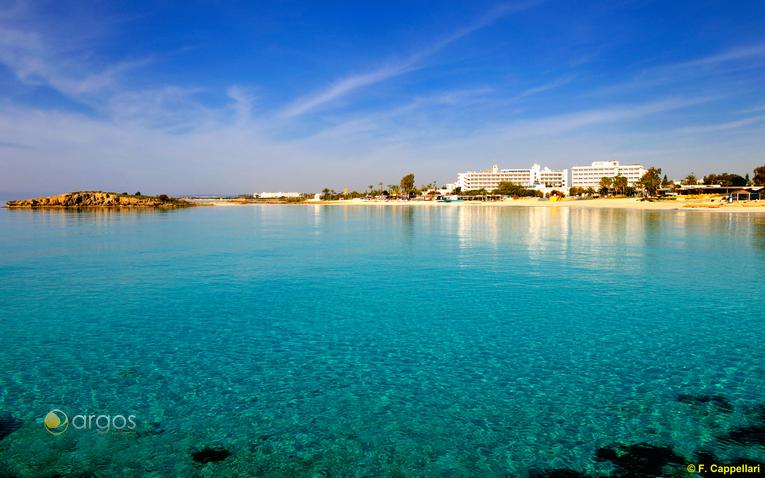 Blick auf den Strand von Agia Napa