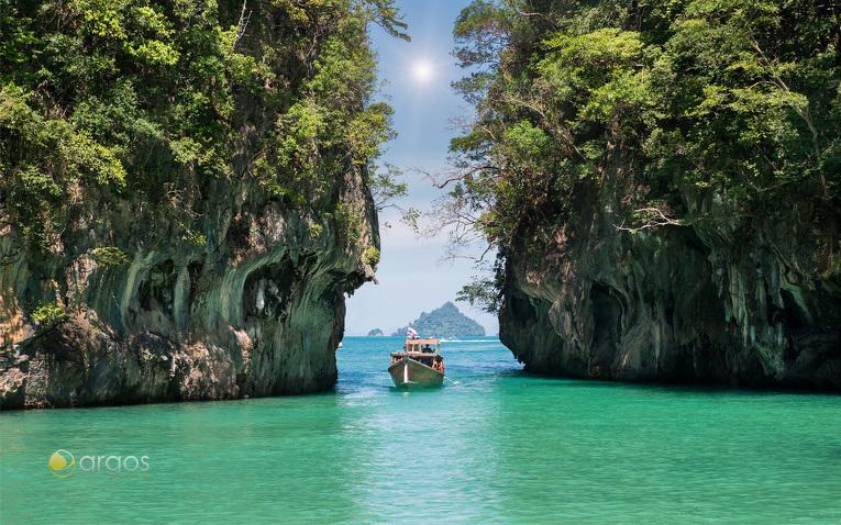 Die Insel Koh Hong vor der Küste Krabis