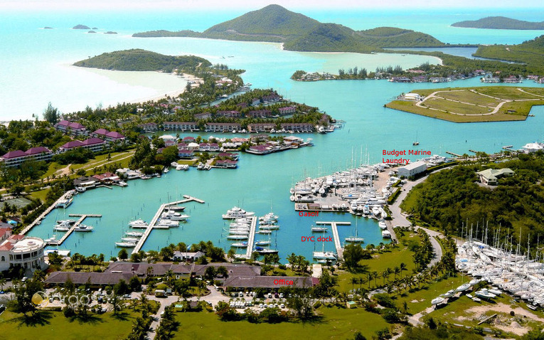 Aussicht auf Dream Yacht Charter Basis in Jolly Harbour auf Antigua