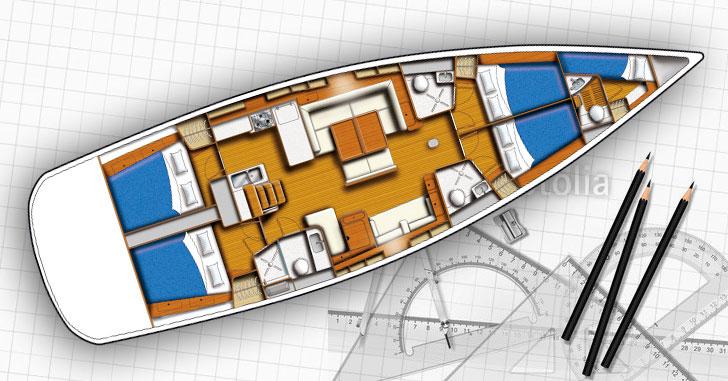 Grundriss einer Yacht