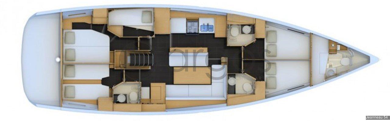 Segelyacht innen  Jeanneau 54 (5+1 Kabinen / 4 WC) - Segelyacht - zu chartern in ...