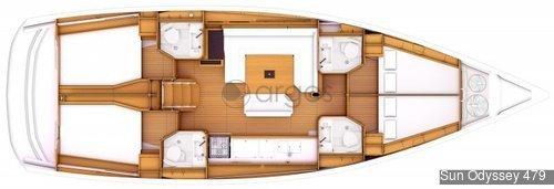 1 Sun Odyssey 479  Verfügbar in Griechenland, Türkei, Kroatien, Italien, Balearen, Kanaren und Malaysia.