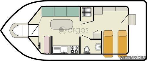 cirrus modell a 1 kabinen 1 wc hausboot id 1833 argos yachtcharter segeln aus. Black Bedroom Furniture Sets. Home Design Ideas