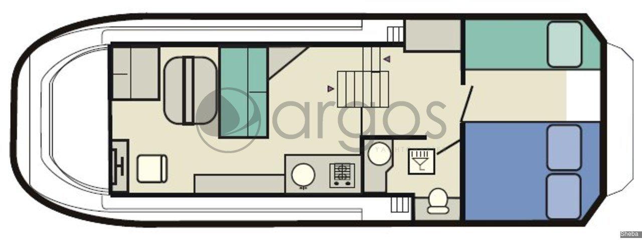 sheba 1 1 kabinen 1 wc hausboot id 2499 argos yachtcharter segeln aus leidenschaft. Black Bedroom Furniture Sets. Home Design Ideas