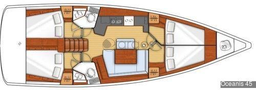 1 Oceanis 45  Verfügbar in Griechenland, Türkei, Kroatien, Montenegro, Italien, Balearen, Spanische Mittelmeerküste, British Virgin Islands, Kanaren und USA Ostküste.